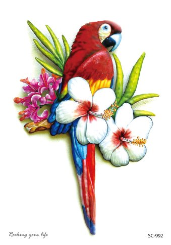 Parrot in flowers
