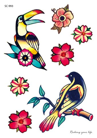Colorful birds and flowers